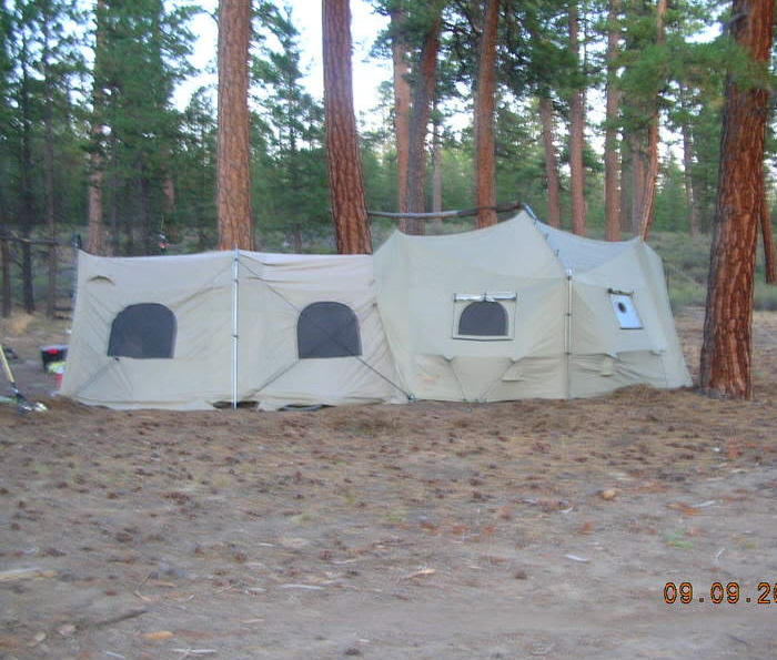 BigHorn and attached GrubHorn at Camp Pondo.....280 Sq. Ft. of ventilated interior with room for interior kitchen.