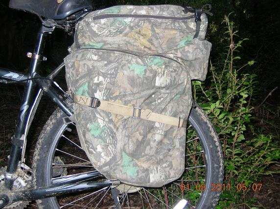 Left side of pack shows the angled lower bag and the set back top pack