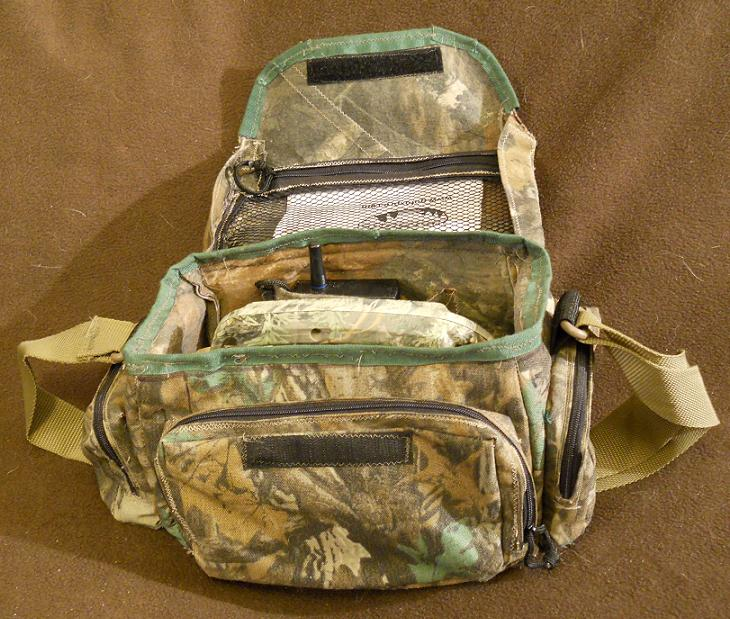 "Caller gear bag has a 9"" x 5"" net pocket in the top, 4.5"" x 4.5"" x 1.25"" side pockets. Up front is a 8.5"" x 5.5"" x 1.25"" pocket"